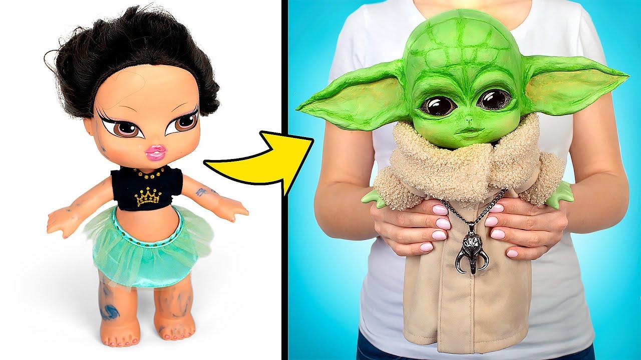 Nunca se é velho demais para as bonecas! Transforme uma boneca Bratz velha em um pequeno Yoda