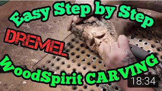 Learn to carve wood spirit, dremel carving , dremel, carving with a dremel, foredom