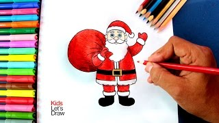 Cómo dibujar a Papá Noel con su Bolsa de Regalos | How to draw Santa Claus and his Gifts Bag