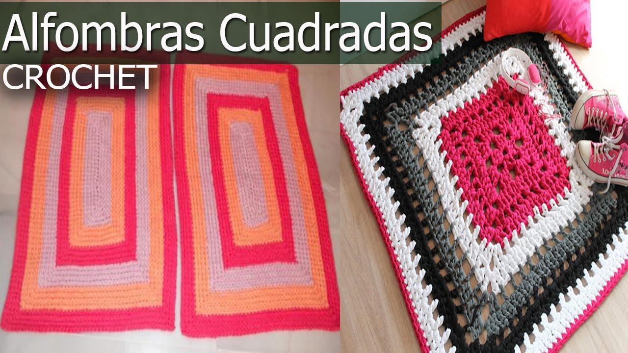 Alfombras cuadrada y rectangular tejidas a crochet y dos for Alfombras cuadradas