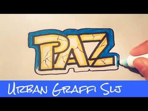 como dibujar un graffiti que diga paz how to draw peace  YouTube
