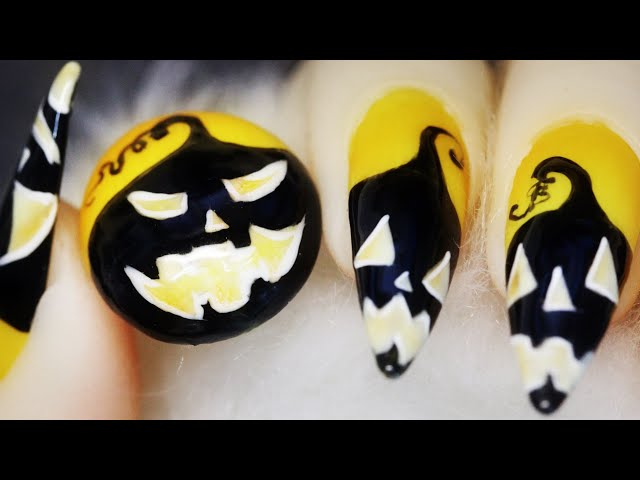How To Create Black Pumpkin Silly Faces Freehand Halloween Nail Art Design 2020