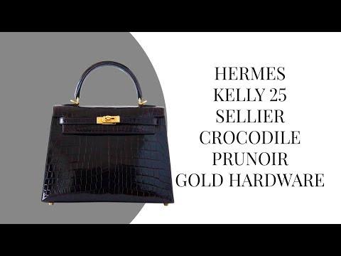 2f146ebe13be MIGHTYCHIC • HERMÈS Hermes Kelly 25 Bag Sellier Crocodile Prunoir Gold  Hardware