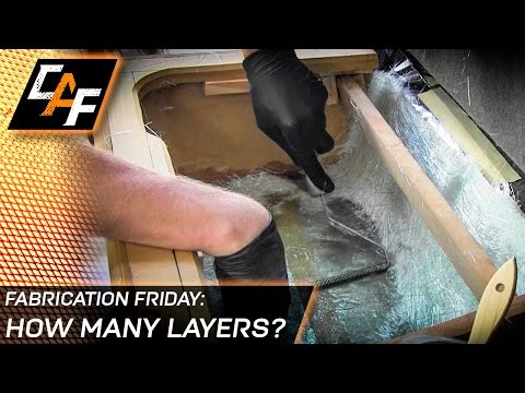 How many layers of fiberglass are needed for a subwoofer box