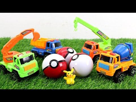 รถแม็คโคร รถปูน รถเครน รถบรรทุก ไล่ล่า โปเกมอน ปิกาจู Excavators Hunt Pokemon.
