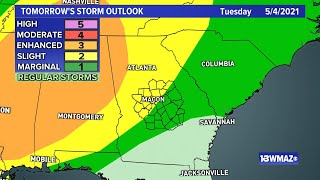 Central Georgia afternoon severe weather coverage (May 3)