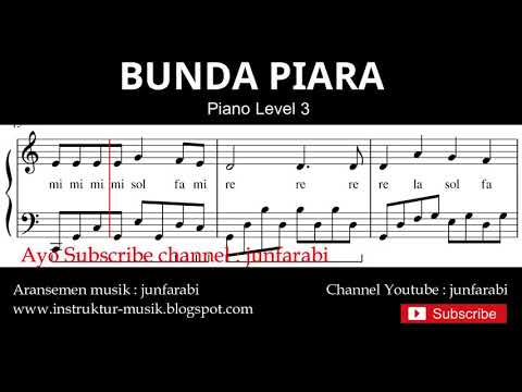 Notasi Balok Bunda Piara - Tutorial Piano Level 3 - Not Lagu Anak Indonesia - Instrumentalia