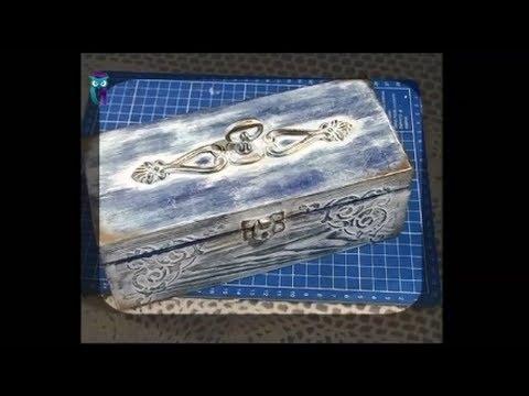 Декупаж. В технике браширования с обжигом декорируем шкатулку в стиле прованс. Мастер класс