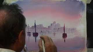 How to paint a simple boat scene with reflections