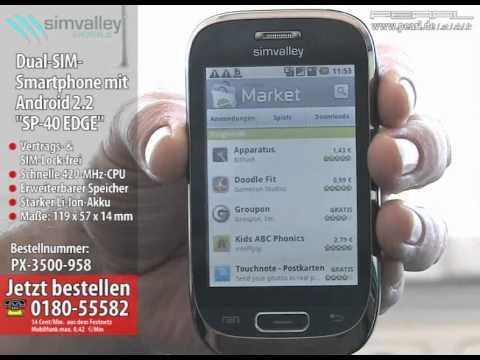 "Dual-SIM-Smartphone mit Android 2.2 ""SP-40 EDGE"", WLAN (refurbished)"