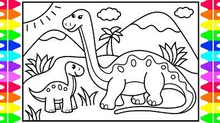 How to Draw a Dinosaur for Kids 💚💙🧡 Dinosaur Drawing for Kids | Dinosaur Coloring Pages for Kids