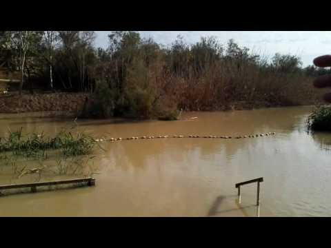 The Jordan River overflows its banks - the baptism site of Jesus (Qasr el Yahud), near Jericho