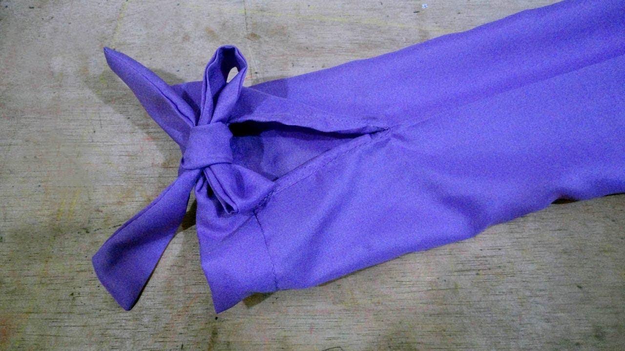 cara menjahit lengan baju yang ujungnya bisa di buat pita