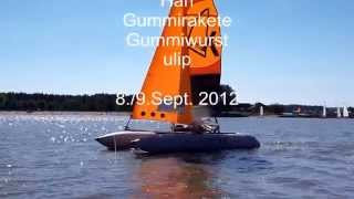 inflatable dinghy sailboat catamaran sailing Segeln Altmühlsee Smartkat Minicat Happy Cat