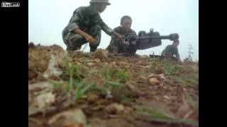 Firing Chinese type 89 heavy machine gun