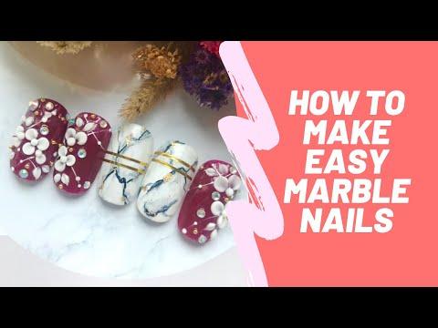 NAIL ART TUTORIAL| HOW TO MAKE MARBLE NAILS | BAHASA INDONESIA thumbnail
