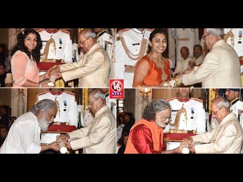 Padma Shri Awards Presentation Ceremony 2017   Dipa Karmakar   Kailash Kher   Yesudas   V6 News