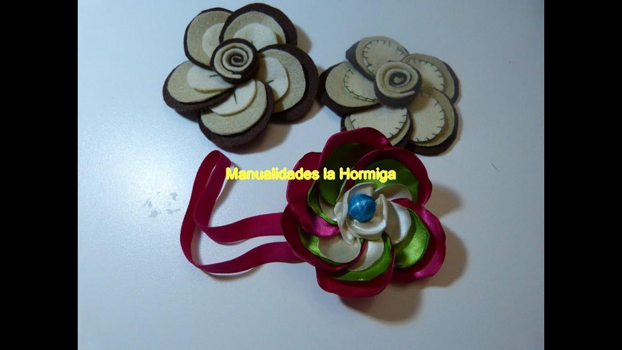 C mo hacer una flor con fieltro manualidades felt flowers - Manualidades con tela ...
