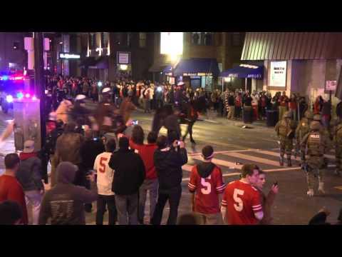 Police pepper spray, tear gas celebrants