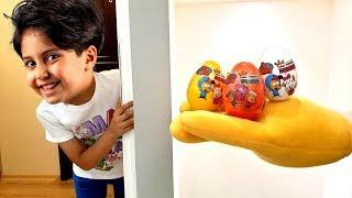 Kral Şakir Sürpriz Yumurtaları ! Surprise egg seek play, Sıcak Soğuk oynadık - Fun video for kids