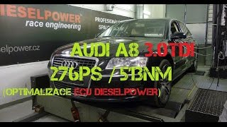 audi a8 3 0tdi 233ps to 276ps 513nm dieselpower dyno tuning www dp race com