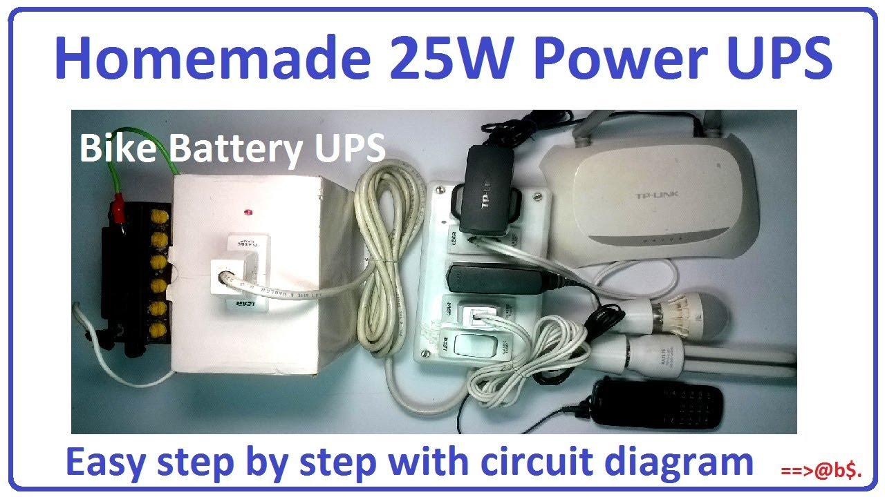 How To Make 25w Power Ups Using Bike Battery Easy Step By Electric Circuit Diagram Of With