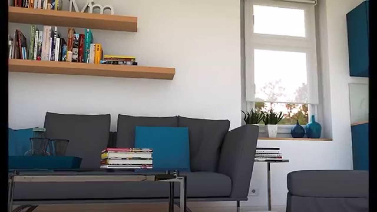 Dise o interior azul petr leo apartamento 38m2 youtube for Decoracion de pequenos departamentos