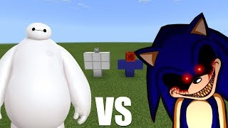 What Happens When You Spawn Baymax & Sonic.exe in Minecraft PE?
