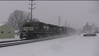 Heavy Snow Fall and Winter Trains on the Norfolk Southern Harrisburg Line