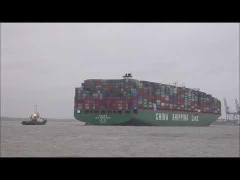 Tide restricted CSCL Arctic Ocean arrive at Felixstowe as Storm Diana begins battering the UK 281118