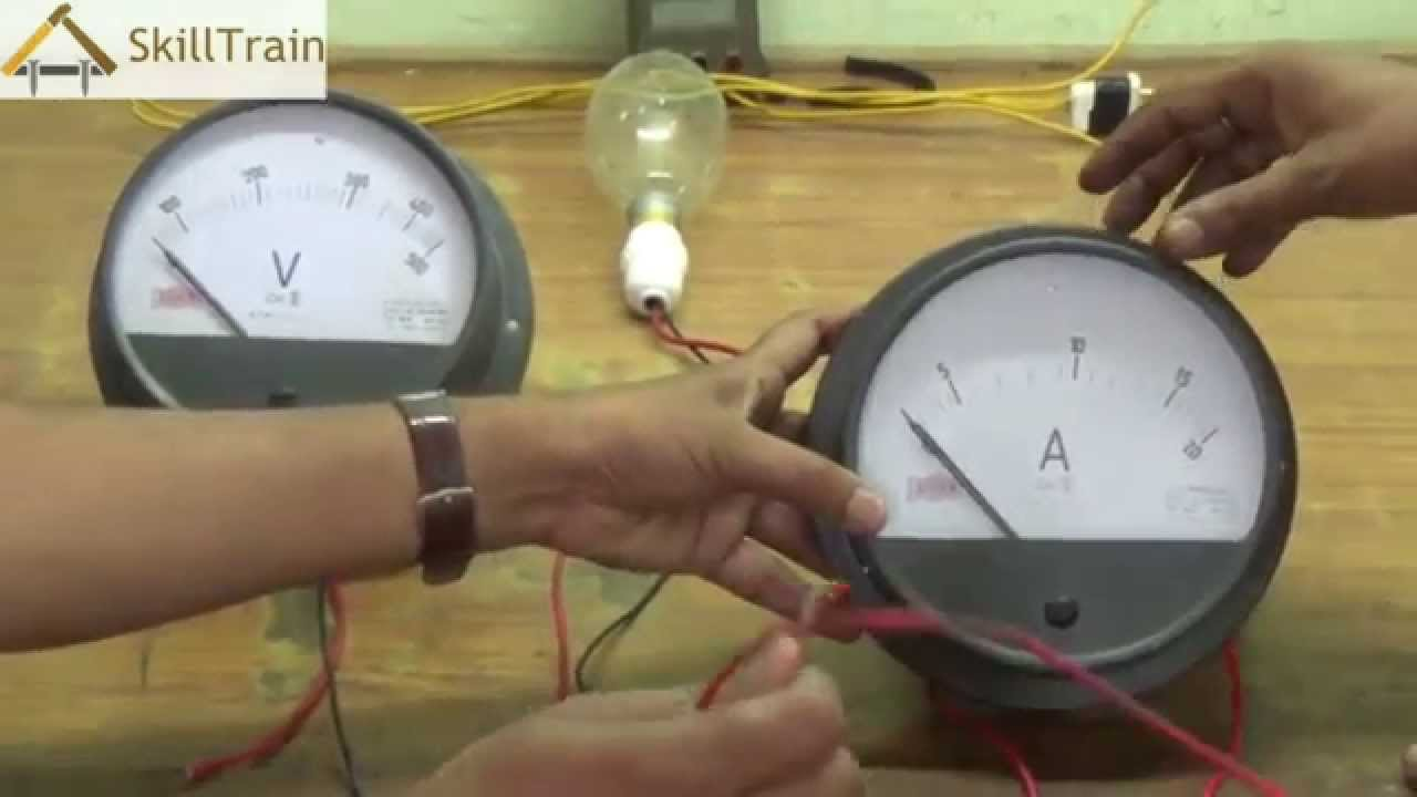 understanding the connection of a voltmeter and ammeter on a circuit hindi youtube [ 1280 x 720 Pixel ]