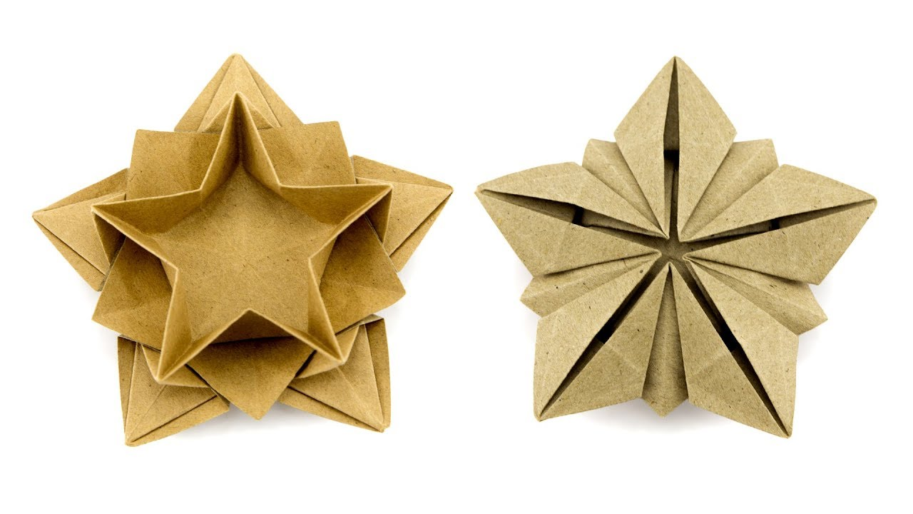Origami Star Dish / Bowl Instructions - Paper Kawaii - YouTube | 720x1280