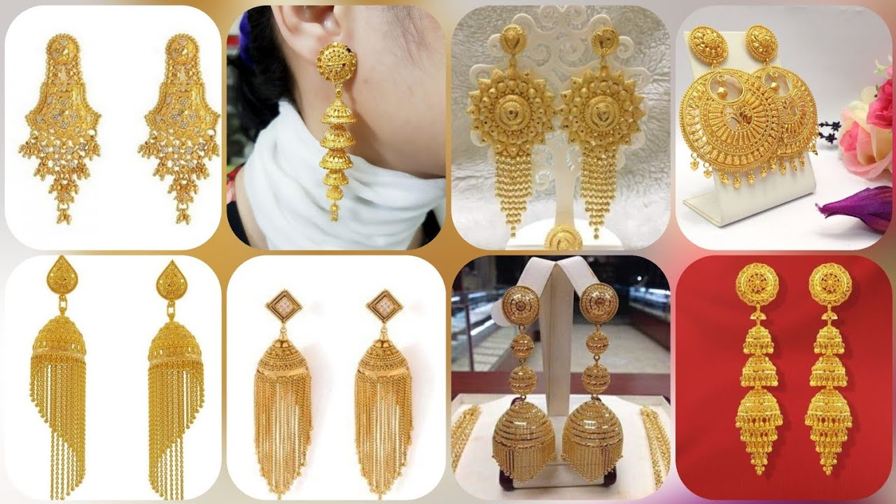 Adorable And Lovely 22k Heavy Pure Gold Earrings Design Collection Best Jewellery Collection Youtube