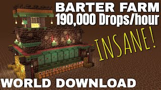 Insane Piglin Barter Farm for Minecraft 1.16 Survival - 190,000 drops per hour with Sorter TUTORIAL