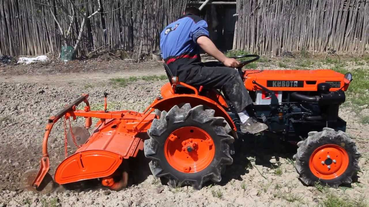 mini tractor kubota b7000 con rotovator - youtube