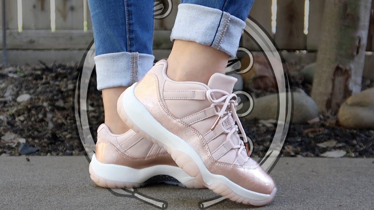 8512cc85549914 Women s Air Jordan 11 Low  Rose Gold  Review - YouTube