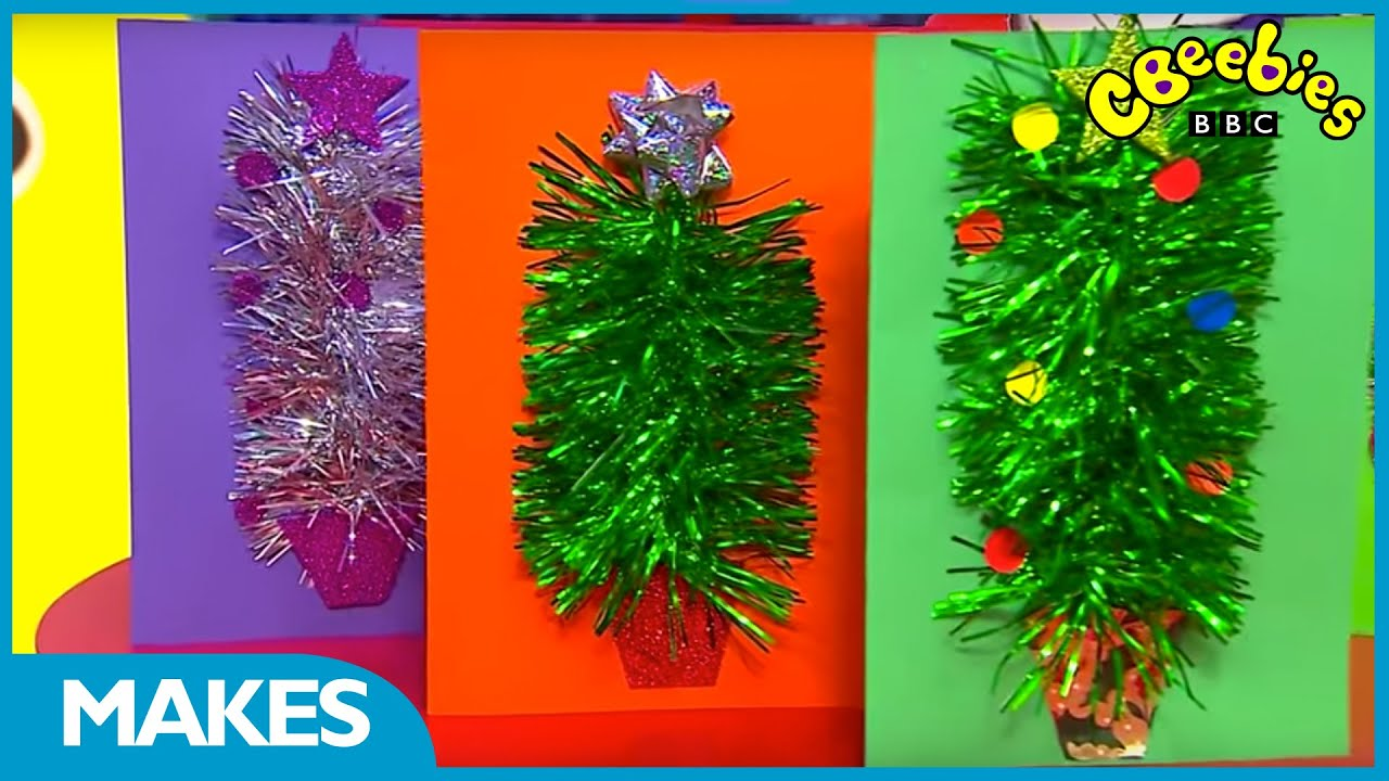 CBeebies Presenter Christmas Make: Tinsel Tree Card - YouTube