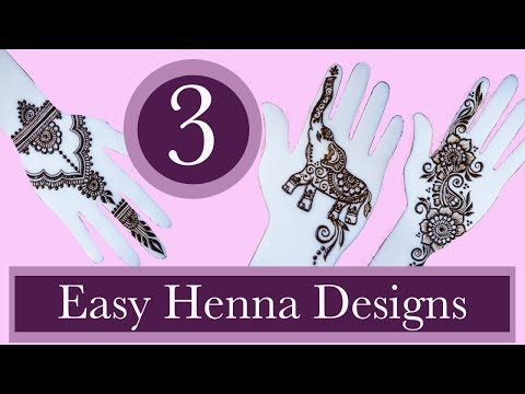 3 Easy Henna Designs For Beginners | Real-time Step-by-step
