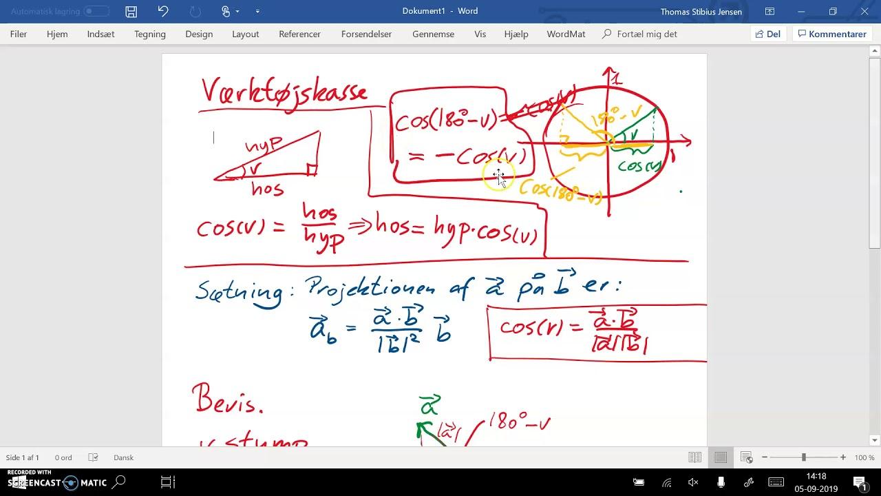 Sætning 6.13: Projektion af vektor på vektor. Bevis - del 3. Stump vinkel