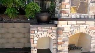 Rocklin Custom Outdoor Fireplace W/ Wood Boxes. Flagstone Patio By Gpt Construction