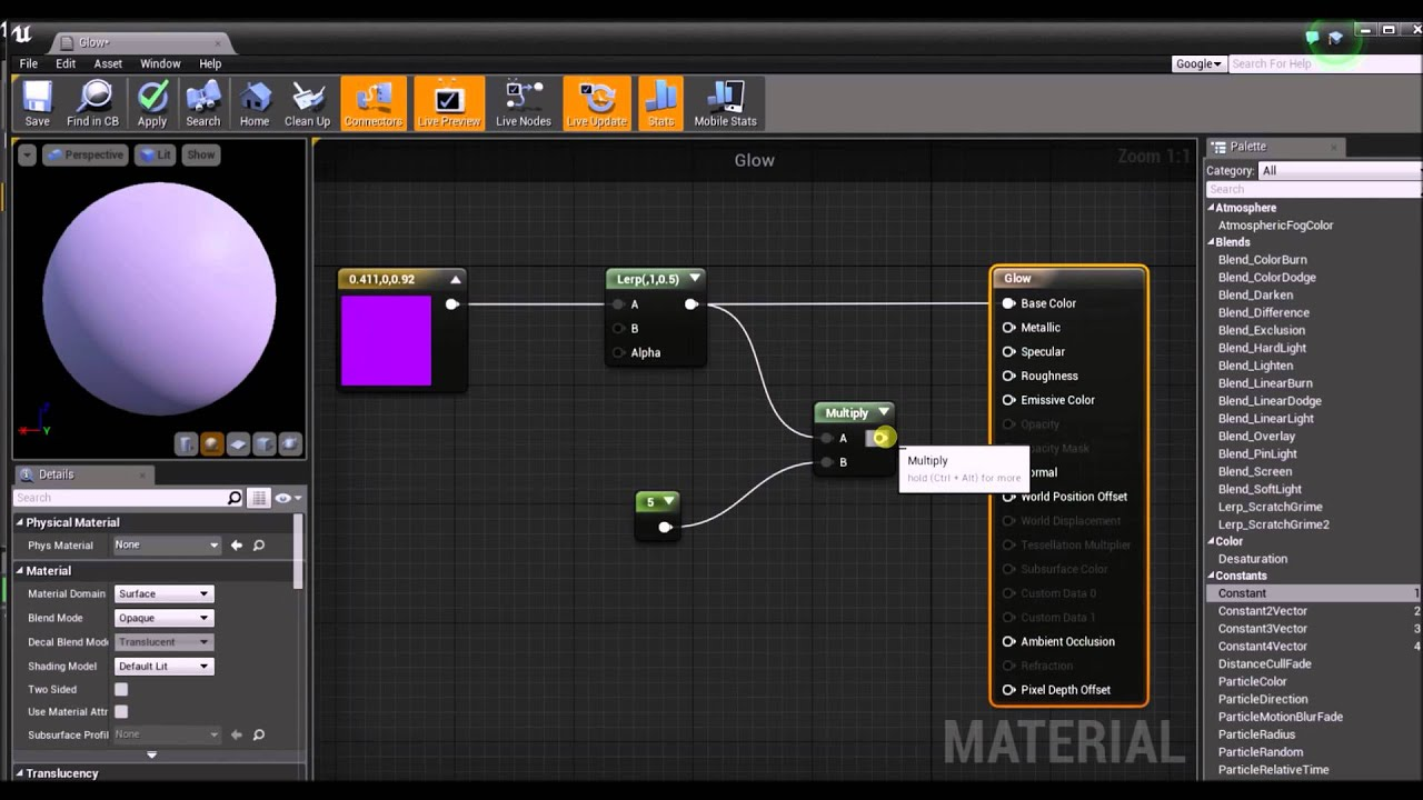 Unreal Engine 4 Quick Fire Tutorial - Glowing Material