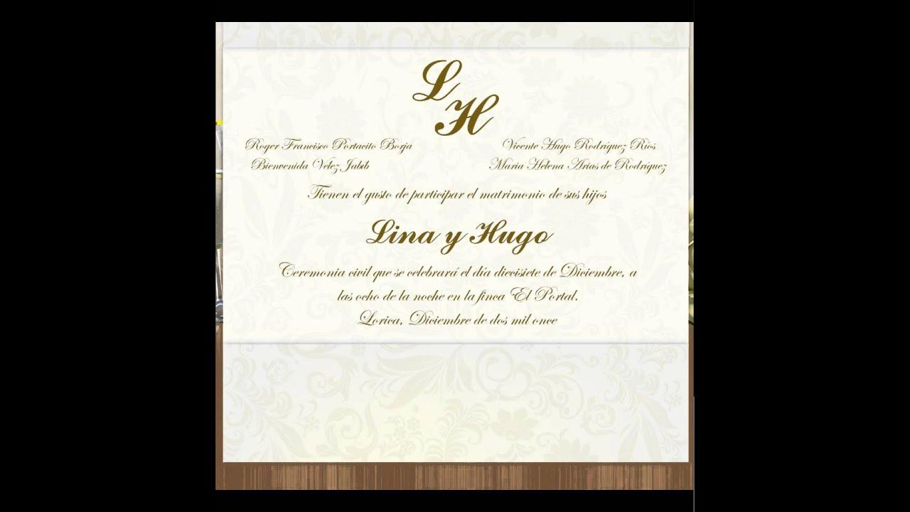 Tarjeta matrimonio participacion gracias gracias youtube - Tarjeta de boda ...