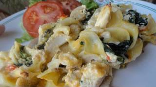 Creamy Chicken Casserole (with Pasta And Spinach)