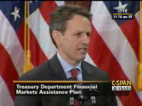 (Part 1/2) Treasury Secretary Geithner Announces Financial Stability Plan 'TARP 2'