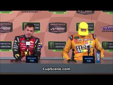 NASCAR at Kansas Speedway Oct. 2018: Kyle Larson, Kyle Busch post race