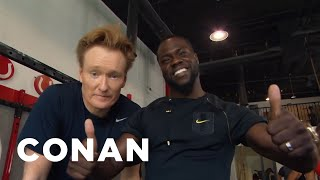 "Kevin and Conan work all the major muscle groups: biceps, lats, and of course, the taint. ""Kevin Hart: What Now?"" is in theaters on October 14th."