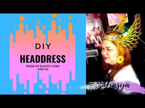 DIY HEADDRESS   Made of Plastic Fork and CD