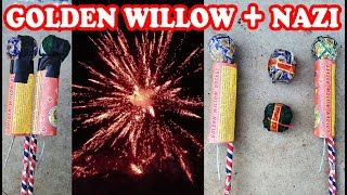 Golden Willow Rocket with Nazi Cracker - Experiment with Diwali Fireworks