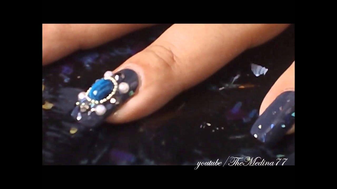 Japanese Style Jeweled Nail Art Youtube