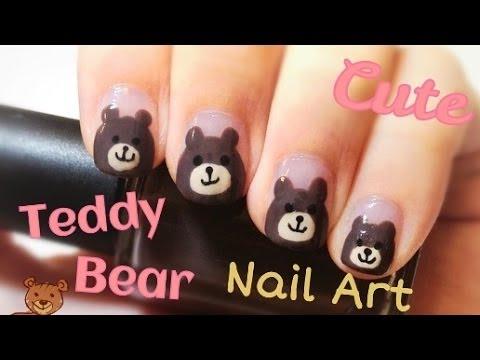 Cute Easy Teddy Bear Nail Art
